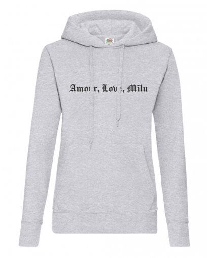 """Sieviešu džemperis ar kapuci """"Amour, Love, Mīlu"""""""